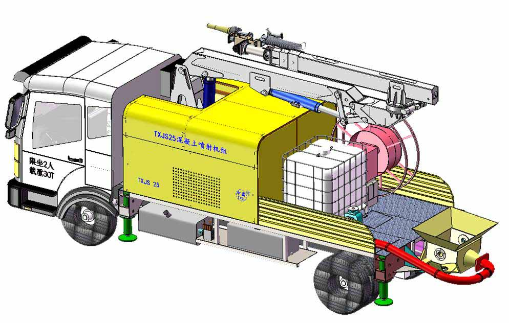 shotcrete machine with automotive chassis